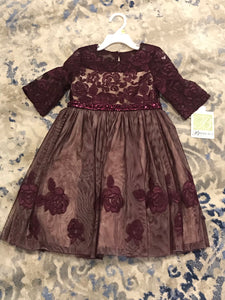 Girls Lace Plum Gown