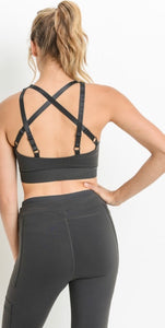 Strappy Solid Sports Bra