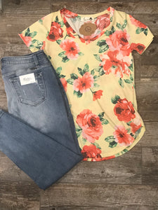 Yellow V-neck Floral Top