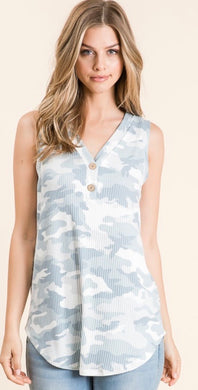 Camo Print Faux Button Tank