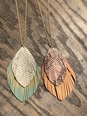 Double Layer Feather Pendant