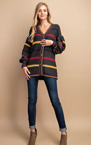 Charcoal Striped Cardigan