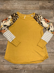 Mustard Color Block Sleeve Top