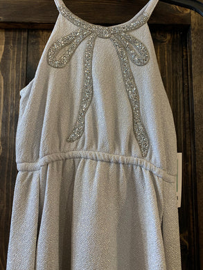 Girls Silver Bow Gown