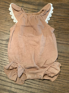 Taupe Romper with Lace