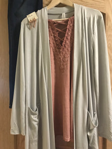 Gray Knee Length Cardigan