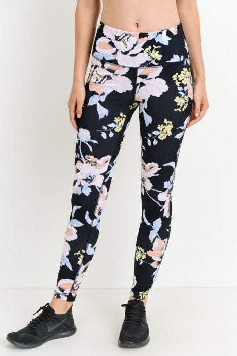 Highwaist Tropical Floral Print Leggings