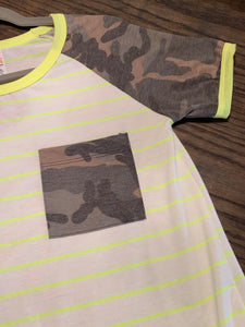 Neon Yellow & Camo Top