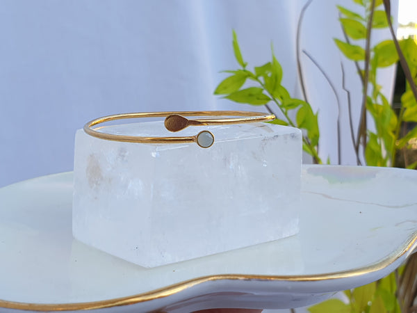 Petit Single Crystal Bangle Gold/Light Blue