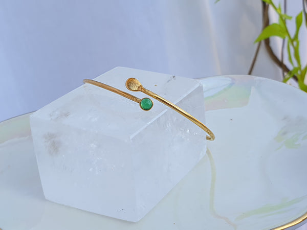 Petit Single Crystal Bangle Gold/Green