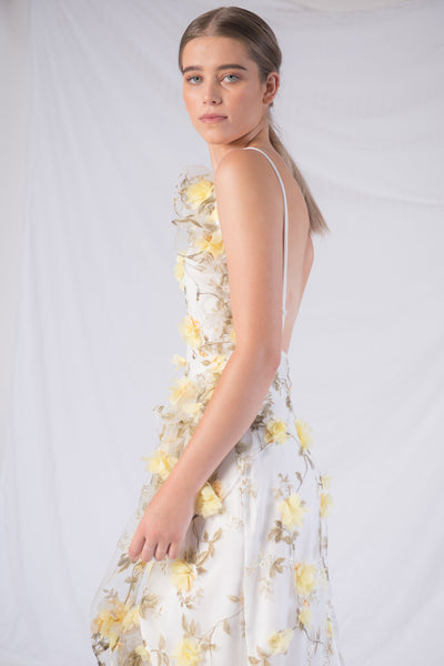 Floating Floral Backless Midi