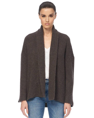 360 Cashmere Clothing Adah Open Cardi in Espresso