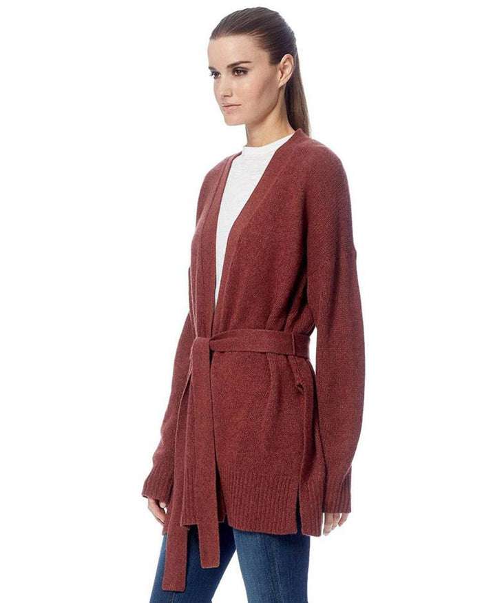 360 Cashmere Clothing Adeline Tie Cardigan in Rosewood
