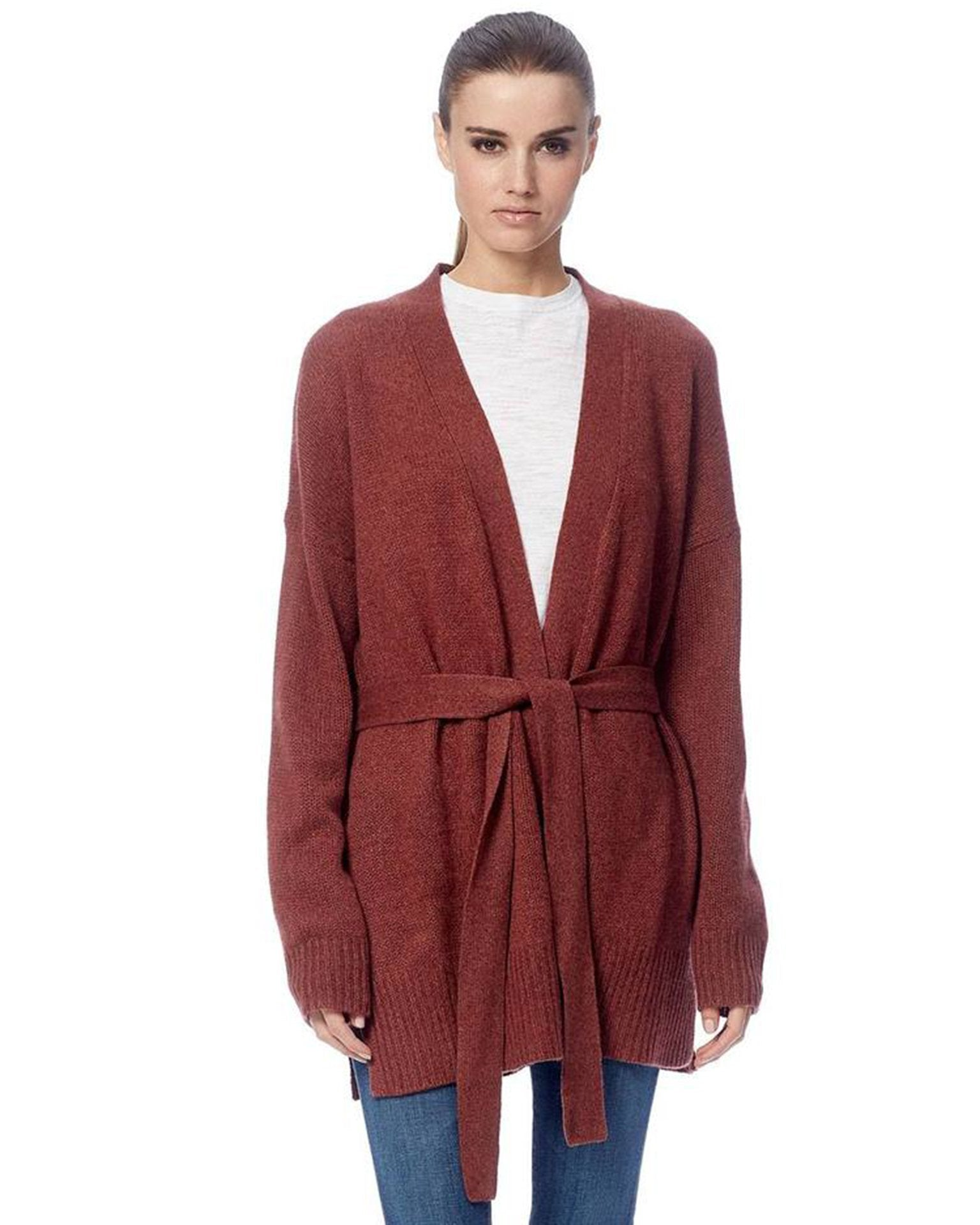 360 Cashmere Clothing Rosewood / XS Adeline Tie Cardigan in Rosewood