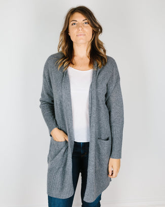 360 Cashmere Clothing Alva Open Oversized Cardi in Mid Heather Grey