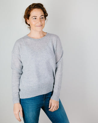 360 Cashmere Clothing Brenna Crew Sweater in Heather Grey