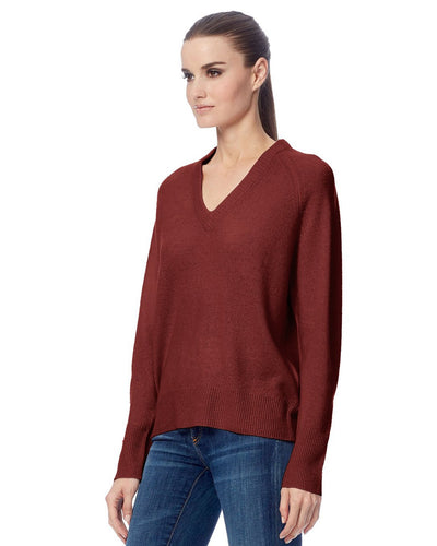 Callie V Neck Sweater in Rosewood