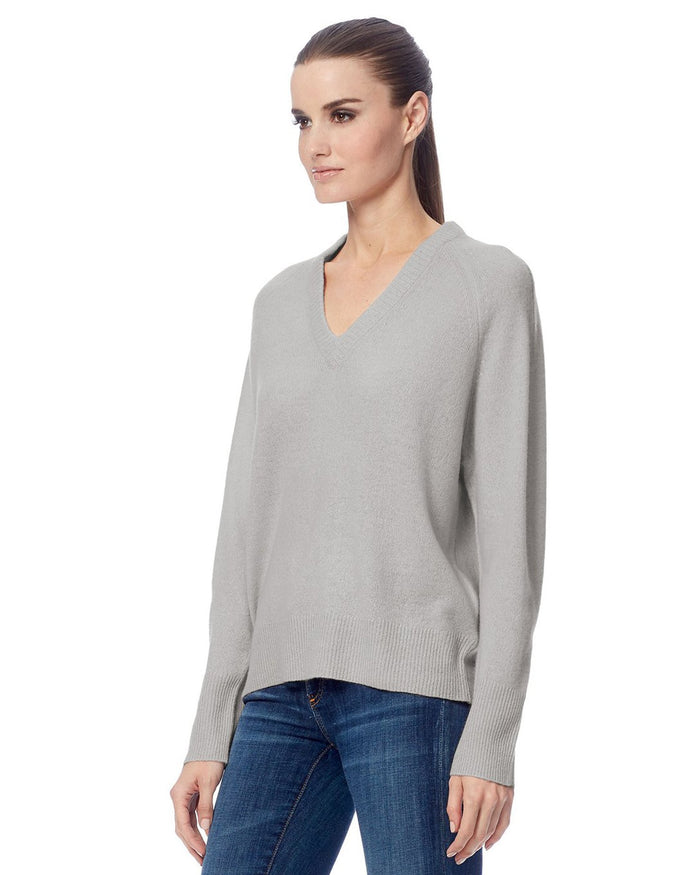 360 Cashmere Clothing Callie V Neck Sweater in Light Heather Grey