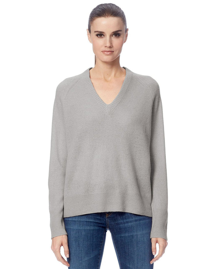 360 Cashmere Clothing Light Heather Grey / XS Callie V Neck Sweater in Light Heather Grey