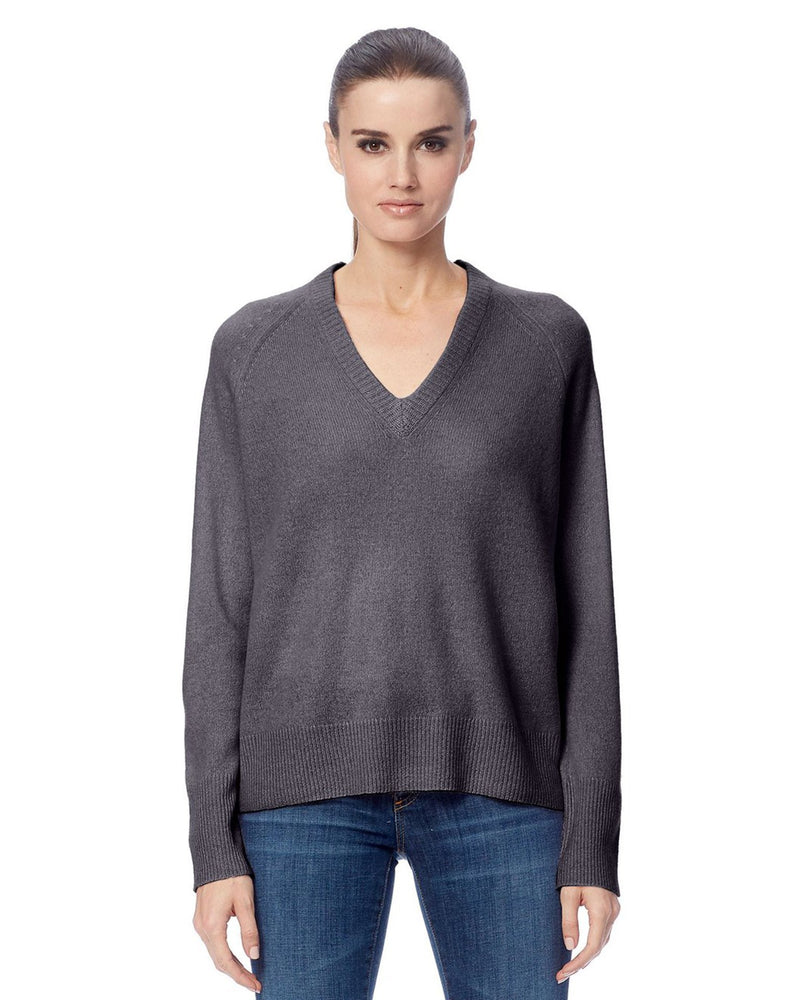 360 Cashmere Clothing Mid Heather Grey / XS Callie V Neck Sweater in Mid Heather Grey