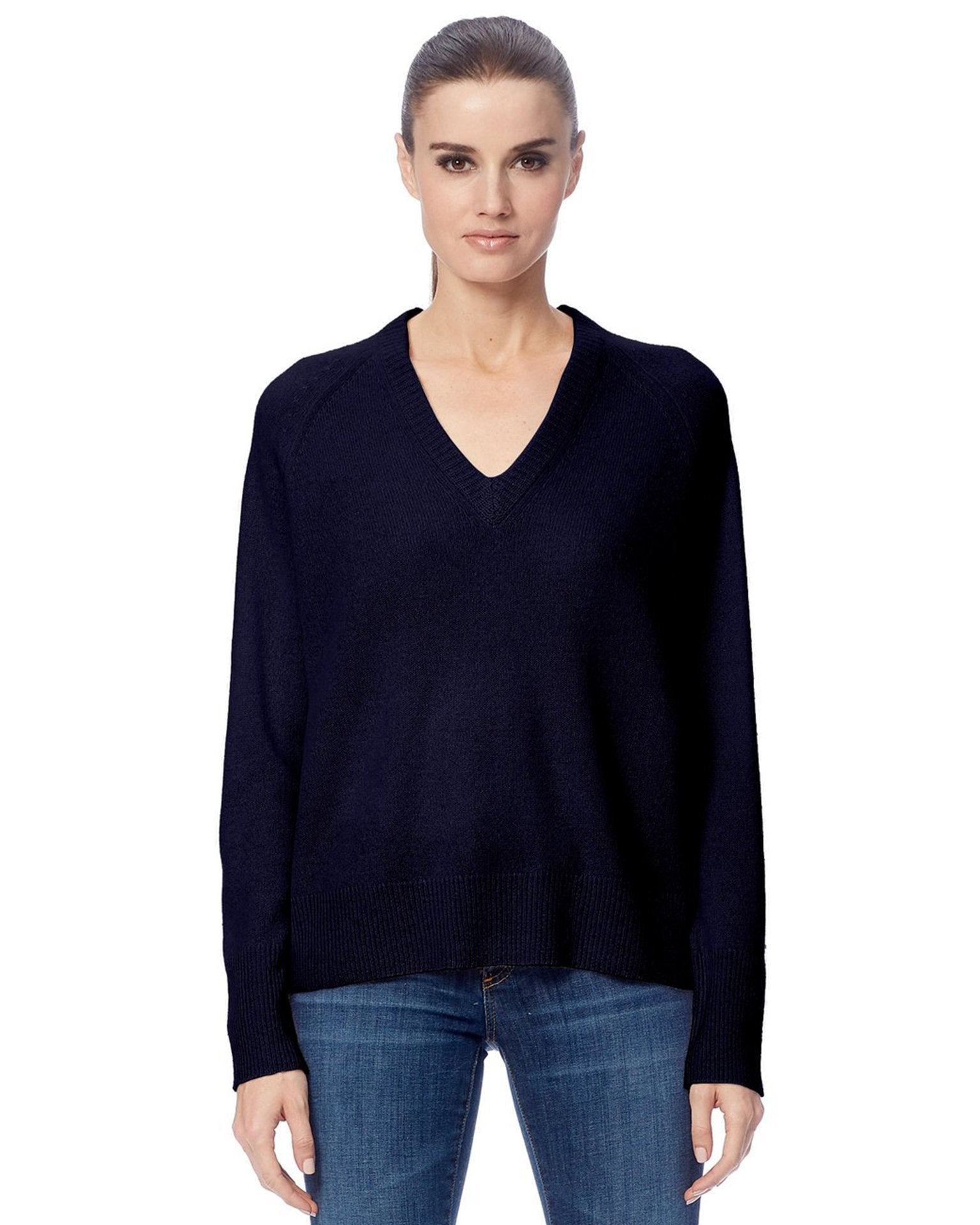 360 Cashmere Clothing Navy / XS Callie V Neck Sweater in Navy