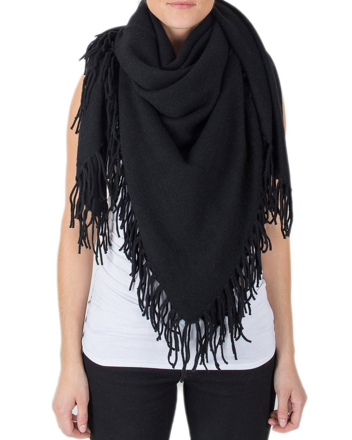360 Cashmere Accessories Black / O/S Georgie Fringe Scarf