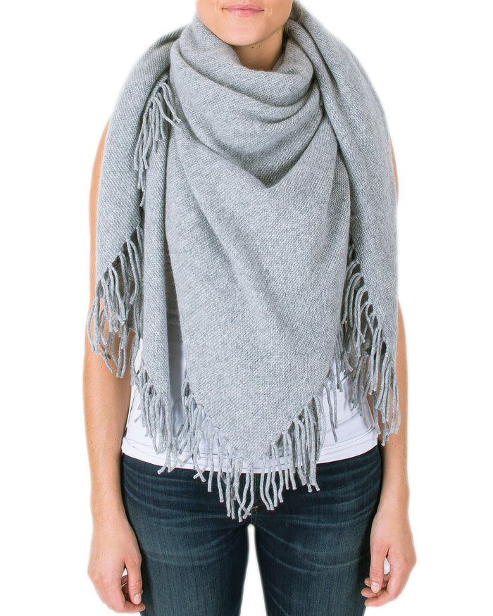360 Cashmere Accessories Heather Grey / O/S Georgie Fringe Scarf