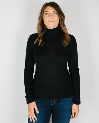360 Cashmere Clothing Janelle Fitted Turtleneck in Black