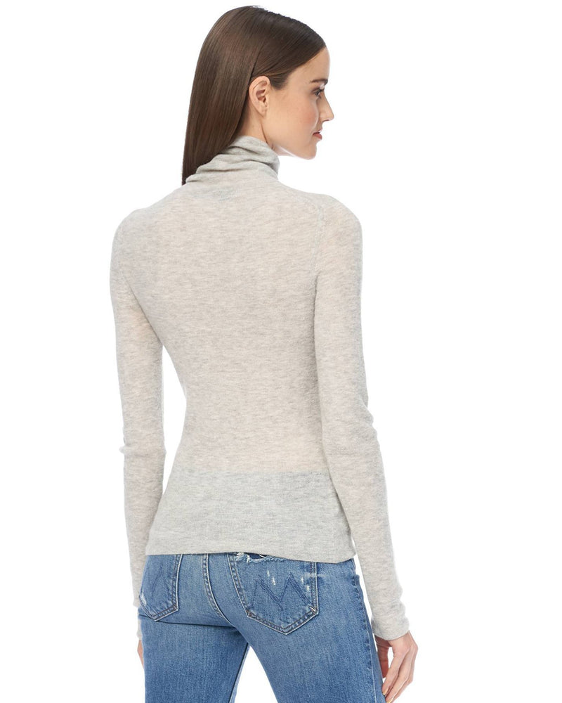 360 Cashmere Clothing Janelle Fitted Turtleneck in Light Heather Grey