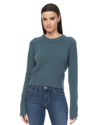 360 Cashmere Clothing Jessika Crop Raglan in Teal