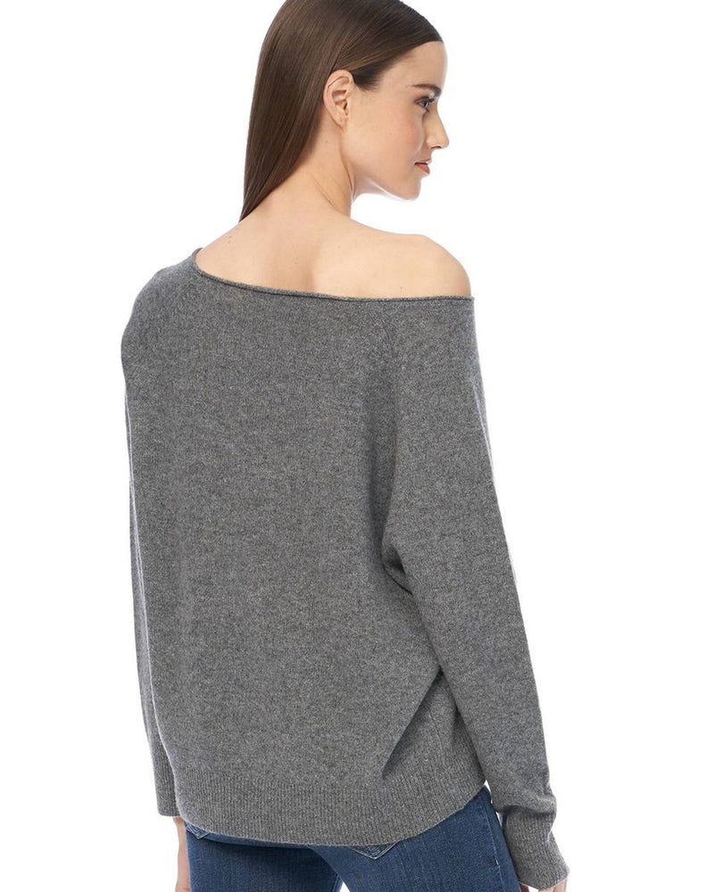 360 Cashmere Clothing Kacey Loose Boatneck in Mid Heather Grey