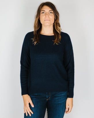 360 Cashmere Clothing Kacey Loose Boatneck in Navy