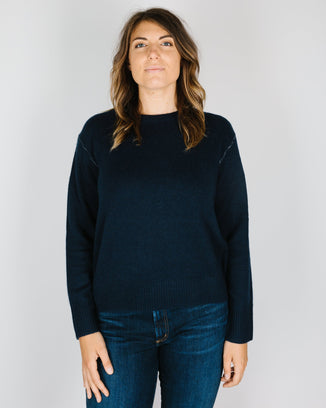 360 Cashmere Clothing Karla Crew Neck in Navy/Mulit