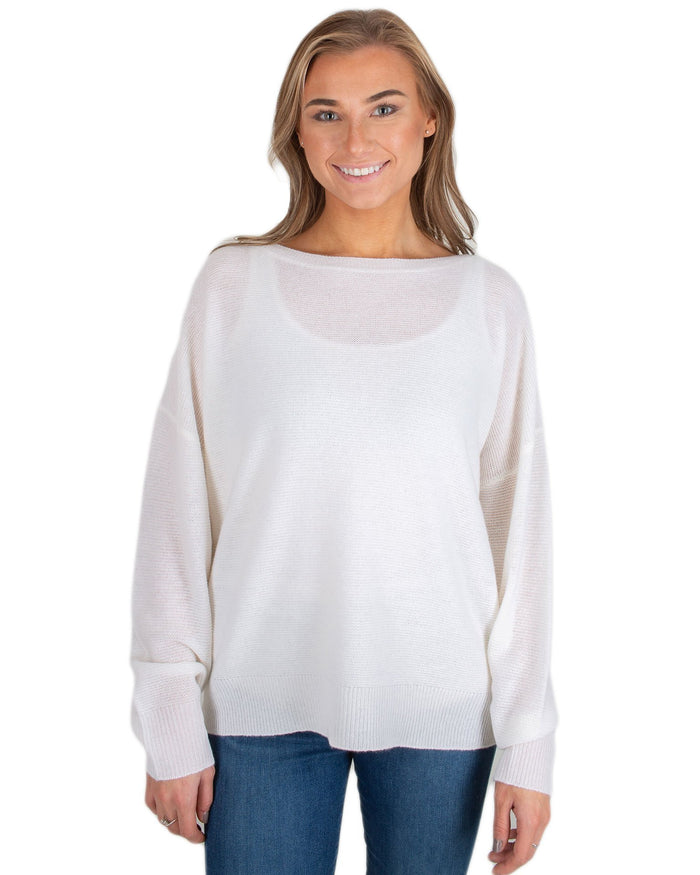 360 Cashmere Clothing Chalk / XS Kaylee Crew Sweater