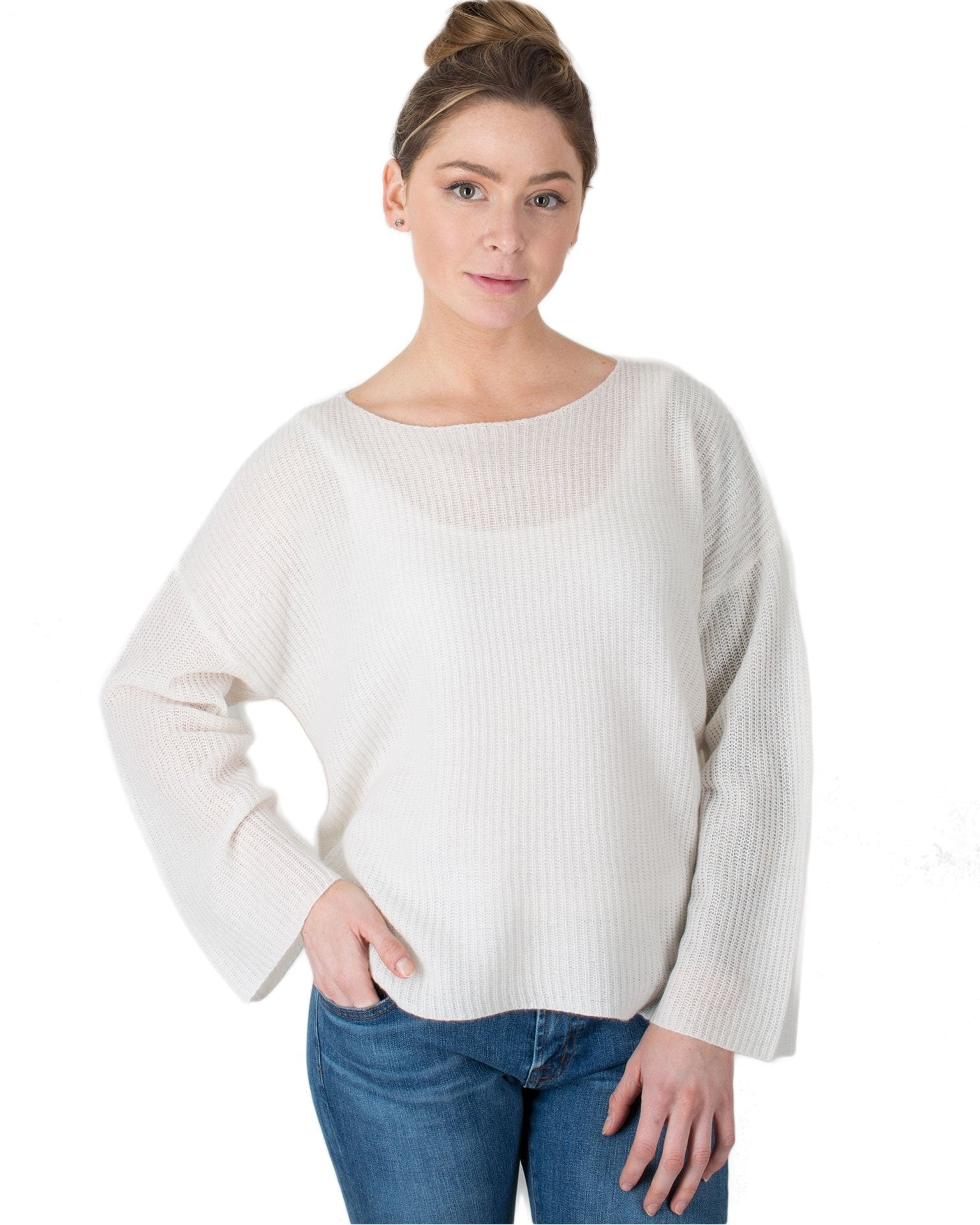 360 Cashmere Clothing Chalk / XS Kiki Wide Sleeve Sweater