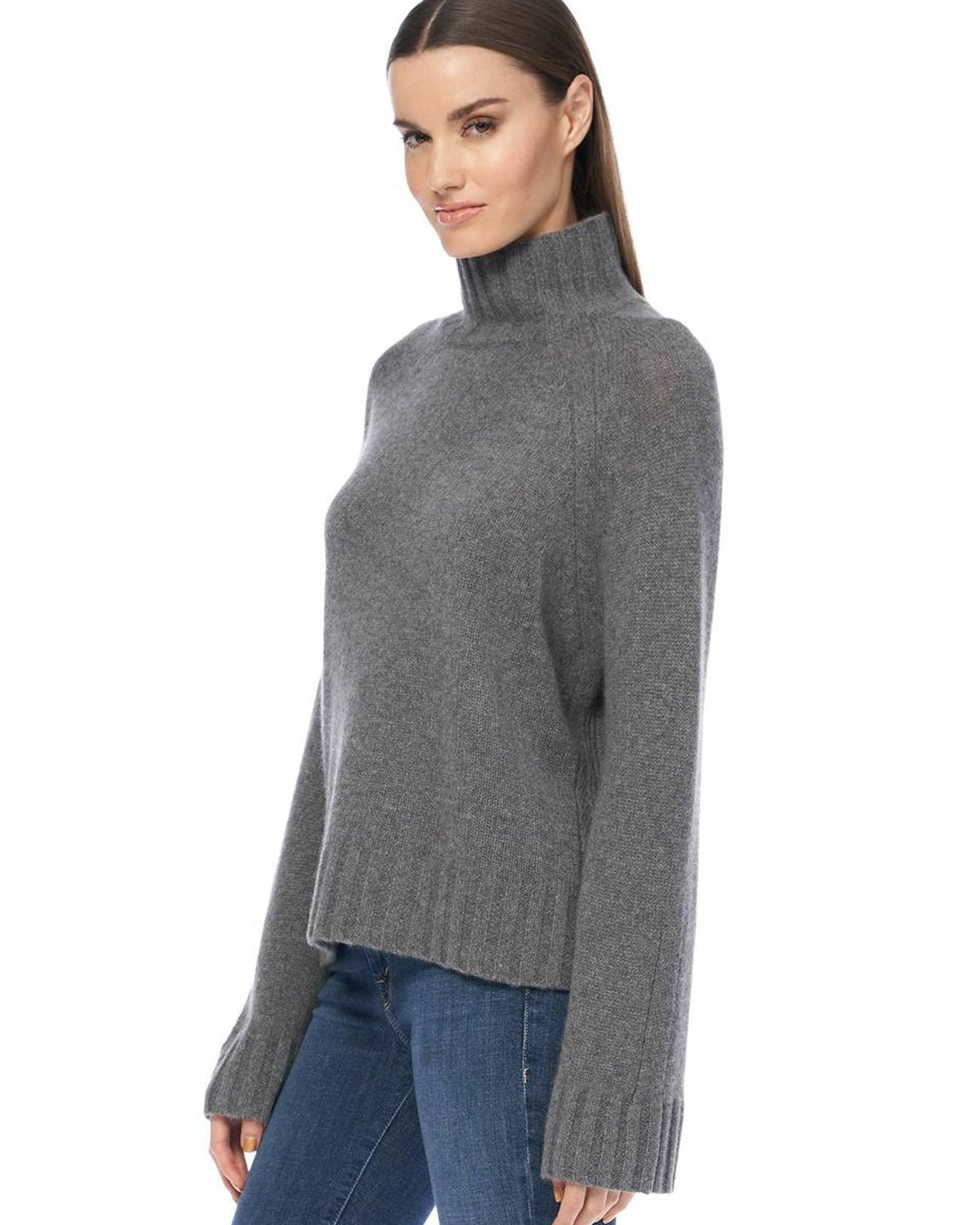 360 Cashmere Clothing Leighton Turtleneck in Mid Heather Grey