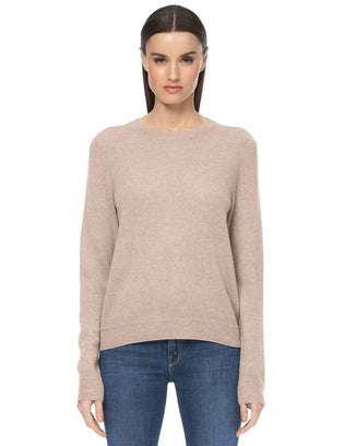 360 Cashmere Clothing Leila Stitch Detail Crew in Adobe Pink