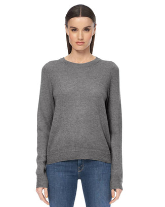 360 Cashmere Clothing Leila Stitch Detail Crew in Mid Heather Grey