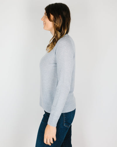 360 Cashmere Clothing Leila Stitch Detail Crew in Misty Blue