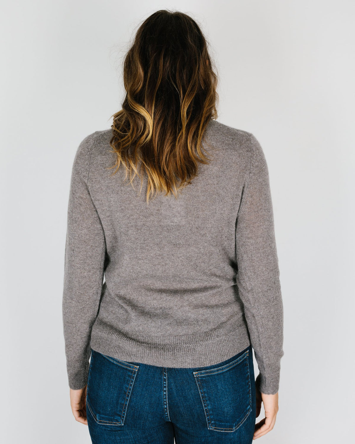 360 Cashmere Clothing Leila Stitch Detail Crew in Porcupine