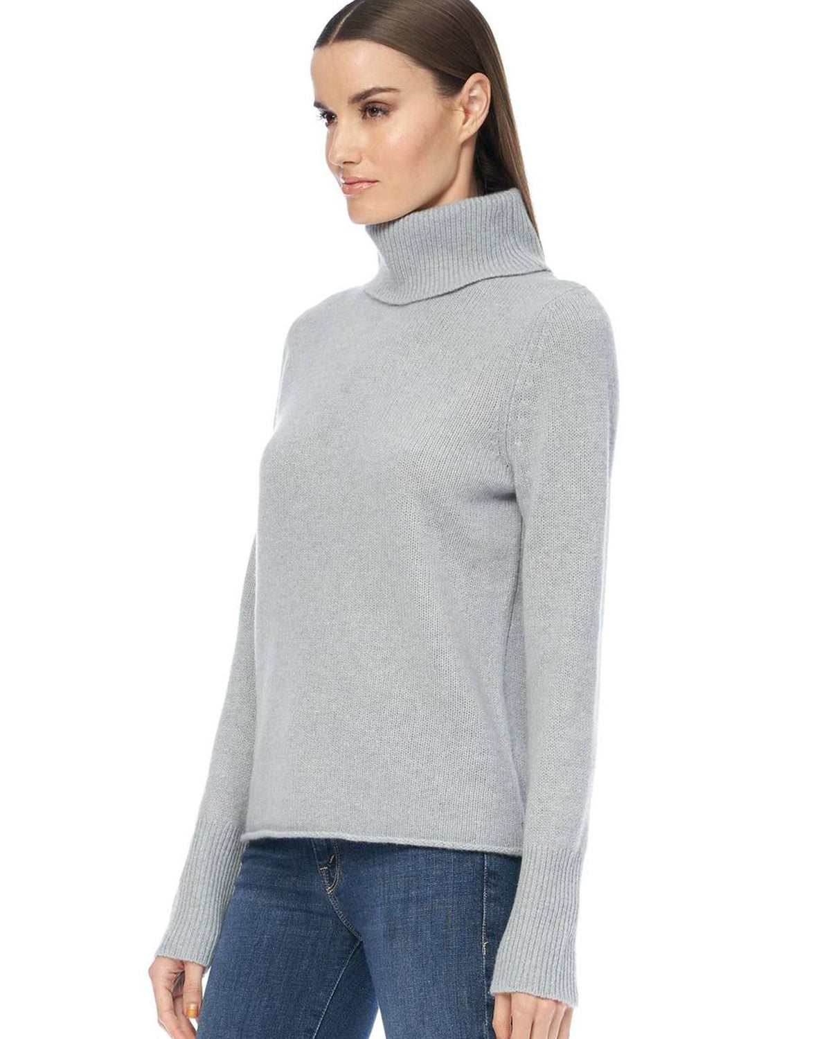 360 Cashmere Clothing Poppi Fitted Crop Turtleneck in Misty Blue