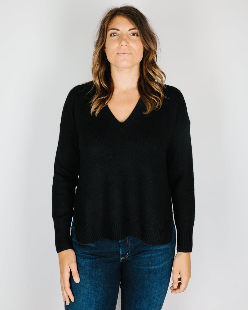 360 Cashmere Clothing Siena Knotched Hem V Neck in Black
