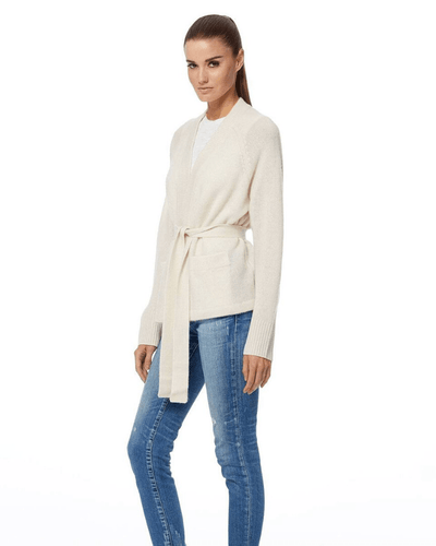 360 Cashmere Clothing Susan Tie Cardigan in White
