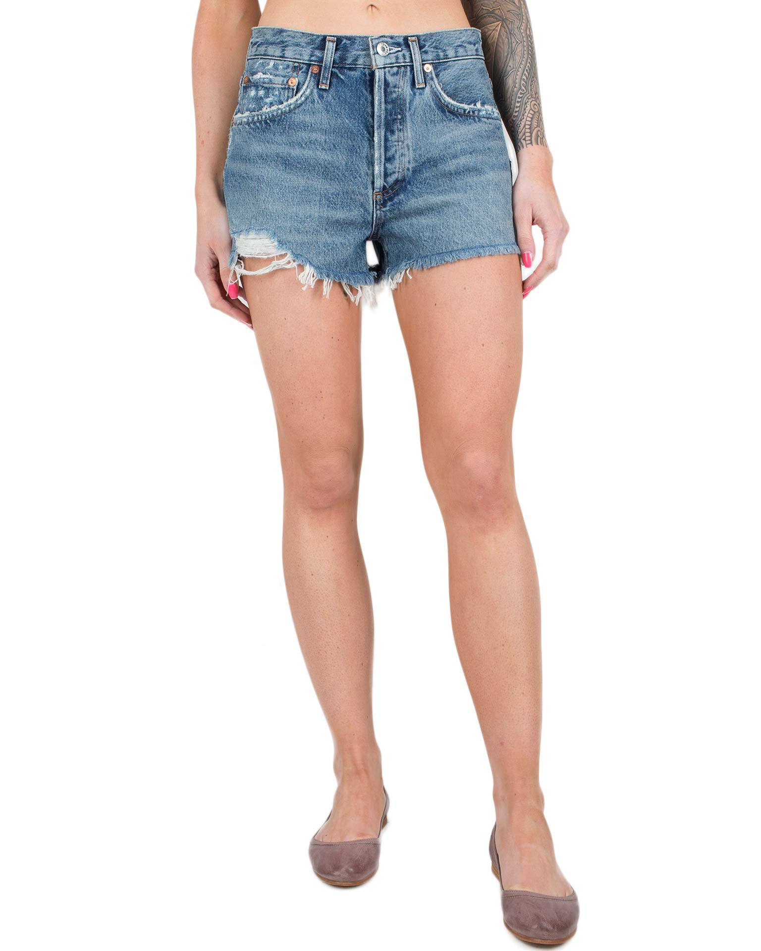 AGOLDE Denim Rock Steady / 24 Parker Vintage Cut Off Short in Rock Steady