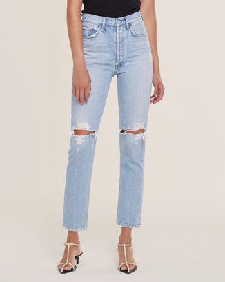 AGOLDE Denim Riley Crop in Clear Skies