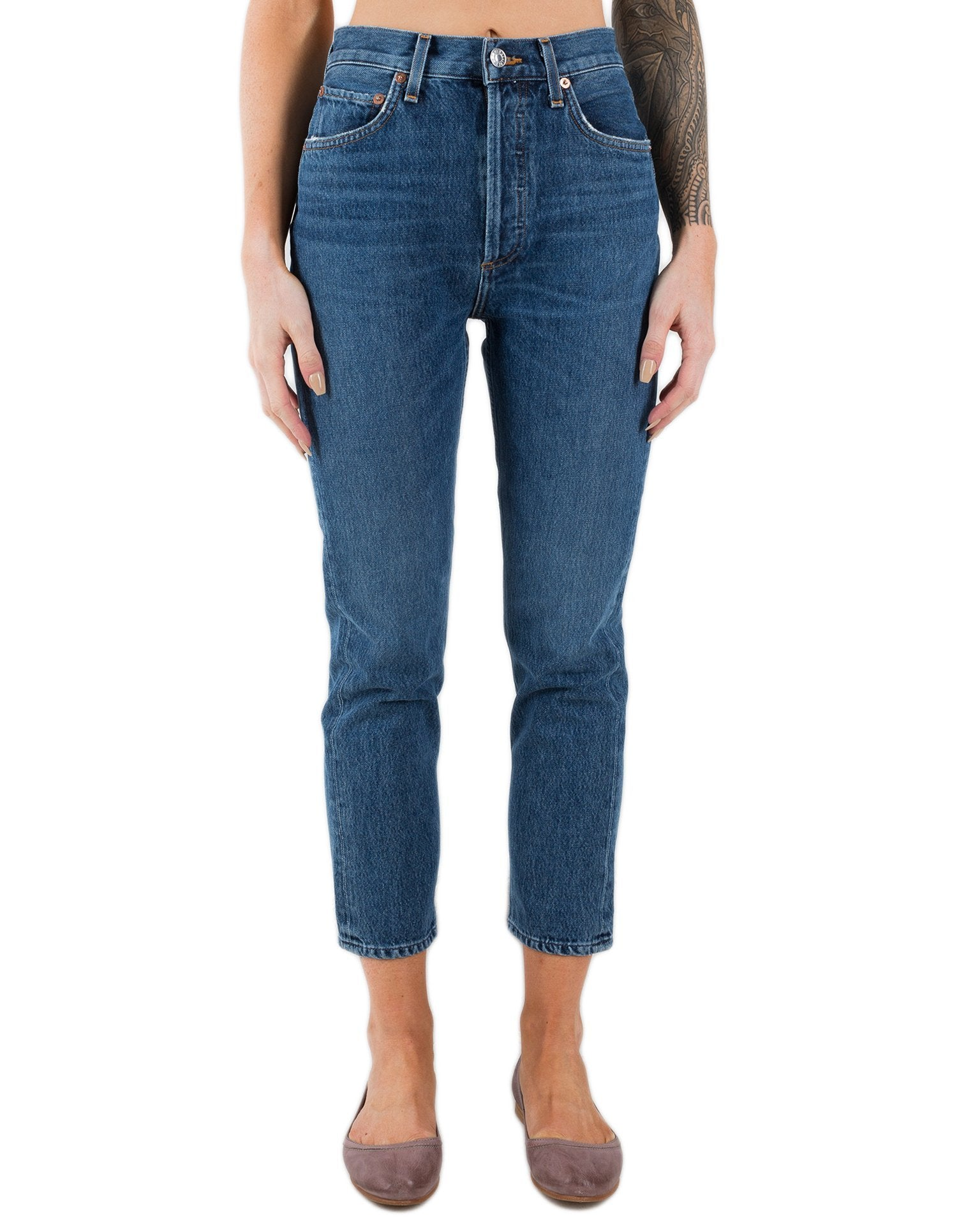 AGOLDE Denim Air Blue / 24 Riley Hi Rise Straight Crop in Air Blue