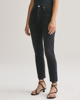AGOLDE Denim Riley Hi Rise Straight Crop in Black Pepper