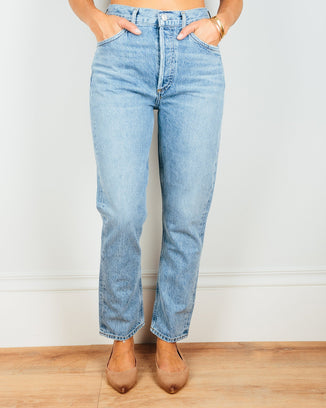 AGOLDE Denim Blur / 24 Riley Hi Rise Straight Crop in Blur