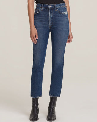 AGOLDE Denim Riley Hi Rise Straight Crop in Pastime