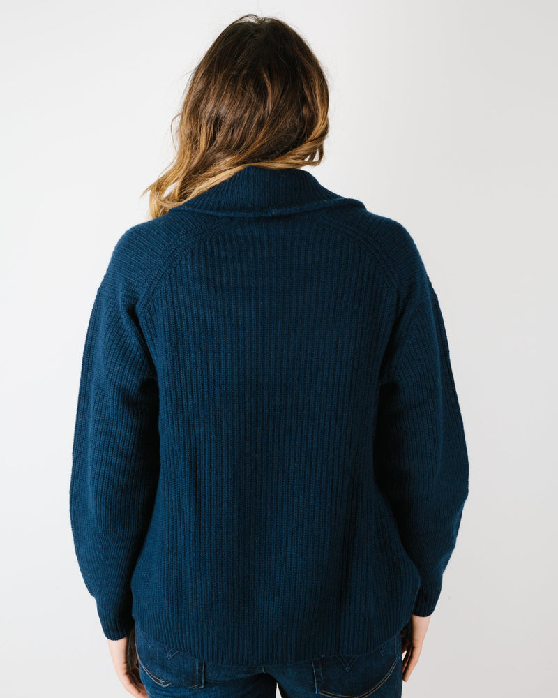 Autumn Cashmere Clothing Shaker Stitch Open Jacket in Navy